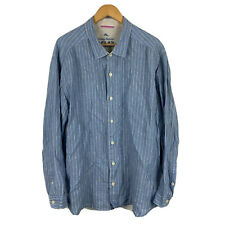 Tommy Bahama Mens Linen Button Up Shirt Size XL Blue Long Sleeve Collared