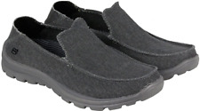 size 12 Skechers Memory Foam gray-black Superior Slip-On Loafer Canvas Shoes