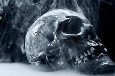 Framed Print - Gothic Smoking Human Skull (Picture Poster Horror Body Art)
