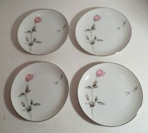 """4 Vintage Style House Dawn Rose Bread & Butter Plates 6 1/8"""""""