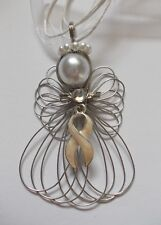 Ribbon Angel Necklace Handmade 00004000 Lung Cancer Awareness Pearl