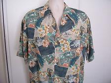 Vtg HALF MOON BAY Rayon Shirt LARGE Button up Florida Postcards Theme