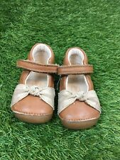Baby Girl Clarks Tan Brown Leather First Shoes Size UK 3.5G Infant