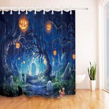 Waterproof Fabric Twisted Tree Grave Path Shower Curtain Set Halloween Bathroom
