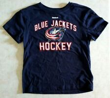 Columbus Bluejackets Kids T Shirt Size Medium 5/6 Reebok Silver Sparkle Logo New