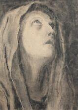 Vintage charcoal painting woman portrait signed