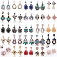 1Pair Women Fashion Elegant Rhinestone Crystal Flower Ear Stud Earrings Jewelry