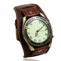 Vintage Cow Leather Bracelet  Men Women Wrist Watch Roman Casual Quartz Watch