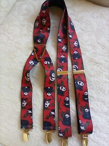 Pelican USA Red Black Panda Bear and Bamboo Leaves Suspenders Adjustable