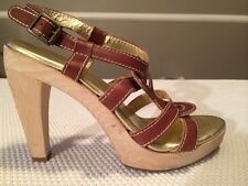 Women's CYNTHIA VINCENT Brown Leather And Wood Platform Heels Size 7m