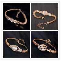 Charm Luxury Austrian Crystal Cuff Bracelet Women Rhinestone Bangle Chain Gifts