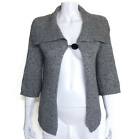 WHITE + WARREN 100% Cashmere Gray Speckled Single Button Cardigan Sweater S 0424