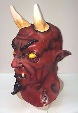 Evil Demon Red Devil Mask Halloween Horror Party Fancy Dress Costume Short Horn