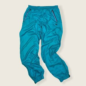 Vintage 80s PUMA Teal Shell Suit Tracksuit Bottoms W32 Polyamide