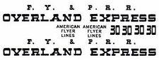 FRANKLIN #30 PASSENGER DECALS for American Flyer