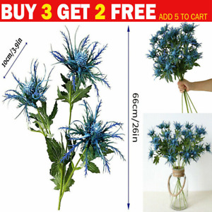 3 Heads Artificial Thistle Spray Real Touch Eryngium Sea Holly Plants Home Decor