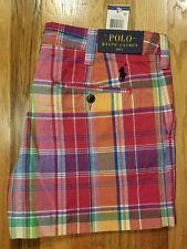 Polo Ralph Lauren Womens Pony Logo Plaid Chino Shorts Ruby/Yellow Multi Size 4
