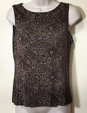 Women Sleeveless Metallic Glitter Embroidery Top Blouse Size M Medium Brown EUC