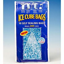PACK OF 10 SELF SEAL ICE CUBE BAGS 24 CUBES PER BAG MAKES 240 CUBES CAROLINE NEW