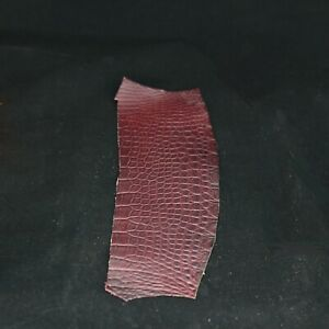 Authentic Crocodile Remnant Piece Leather Craft Supply Reddish brown Single One
