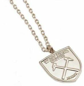 """West Ham United FC Silver Plated Pendant & 20"""" Chain XL Official Merchandise"""
