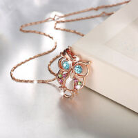 Lovely 18K Rose Gold Filled Colorful Crystal Owl Pendant Necklace Gift