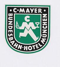 1953 Valise Autocollant luggage label Conrad Mayer S Bundesbahn IC Hôtel Munich DB