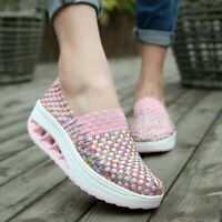 Womens Multi-colored Slip On Low Top Loafers Moccasin Shoes Fashion Woven Pumps