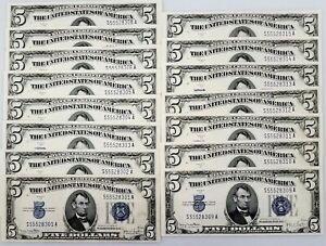 Lot of FIFTEEN 1934 D $5 Silver Certificates! Uncirculated! Consecutive Serials!