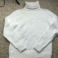 Eddie Bauer Size Large Thick Ribbed Knit Sweater White Turtleneck Womens