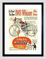 ADVERT WHIZZER BIKE MOTOR POWER TRANSPORTATION BLACK FRAMED ART PRINT B12X6097