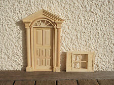 WOODEN DOOR AND WINDOW SET FOR DOLLS HOUSE - 1/12TH SCALE - NEW AND PACKAGED