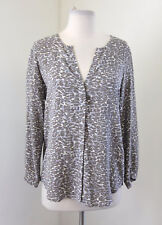 Joie Purine Print Silk Blouse Size XS Leopard Button Front Shirt Gray Blue