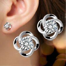FLOWER CLOVER DESIGN STUD EARRINGS W/ LAB DIAMONDS / 925 STERLING SILVER