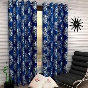 New 2 Piece Eyelet Long Door Curtain Set - 9 feet Blue