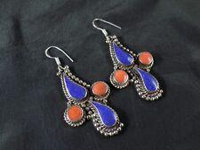 Unique Tibetan Lapis Lazuli & Red Coral Handmade Pretty Earring NE-7073