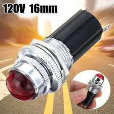"16mm 5/8"" Red 120V AC DC LED Signal Indicator Pilot Light Bulb Hot Rod Metal"
