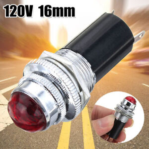 "16mm 5/8"" Red 120V AC DC LED Signal Indicator Pilot Light Bulb Hot Rod Metal"
