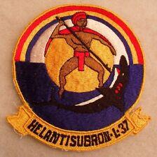 "1970'S NAVY SQUADRON JACKET PATCH ""HELANTISUBRON L-37"" LG SZ HAWAIIAN MOTIF CE"