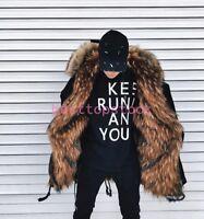 Winter Luxury Men Hooded Parka Mink Fur Lined Real Warm Outdoor Long Coat jacket