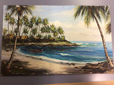 Vintage 1950's 14 1/4x22 1/2 Hawaii unframed Oil Painting by Marie Ware