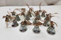 16 Silver Wedding Kissing Bells Christmas Tree Decoration Metal Chimes Ribbon