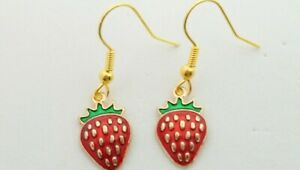 Handcrafted Strawberry Charm Drop Dangle Earrings Novelty Vintage Retro Fruit