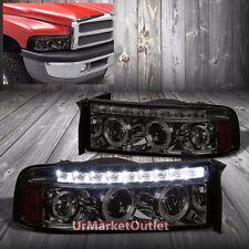 Smoke Housing Halo Projector+LED+Amber Headlight For Dodge 94-01 Ram 15/25/3500