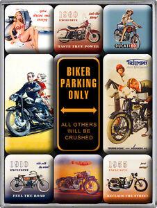 Retro 9 pc Magnet Set MOTORCYCLE SELECTION 1950's Bikers Ducati Triumph Licensed