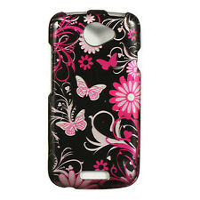 For T-Mobile HTC ONE S HARD Protector Case Snap On Phone Cover Black Butterfly