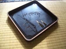 Japan antique tray wooden black square bamboo shoots edge old feel nice #1312