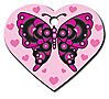 BUTTERFLY DESIGN ON LG PINK HEART ENGRAVED PET ID TAG