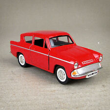 Red Die-cast 1:32 Ford Anglia 1960 Model Car 12cm Long Pull Back Friction Drive