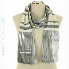 JUICY COUTURE Oblong SILVER Shine STRIPE WHITE & GREY SCARF Ribbed Knit WINTER